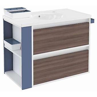 Bath+ Cabinet 2 drawers with porcelain sink Fresno-White-Blue 80CM