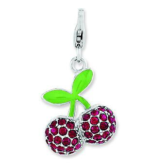 Sterling Silver Polished Rhodium-plated Lobster Claw Closure Enameled 3-d Cherries With Lobster Clasp Charm