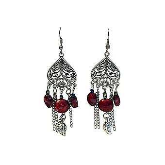 Long vintage bohemian statement earrings with red color accent