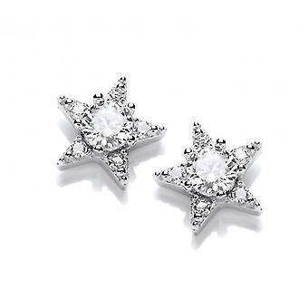 Cavendish French Silver and Cubic Zirconia Mini Shooting Star Earrings