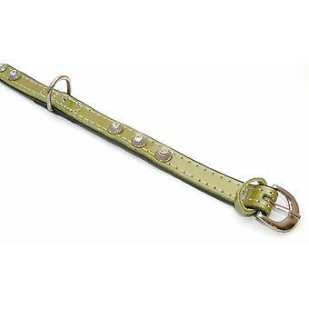 Hvalpe kegle læder krave grøn 15 mm X 35 cm