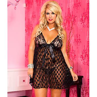 Night Dress With Polka Dots And Large Bow-Black