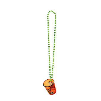 Hawaiian Tribal Party Shot Glass with Necklace Party Supply-Orange