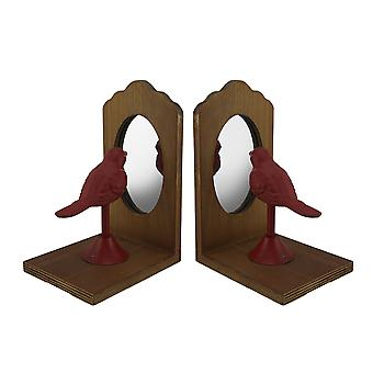 Pretty Perch Red Bird Looking Into Mirror Vintage Rustic Bookend Set