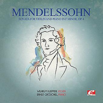 Felix Mendelssohn - Mendelssohn: Sonate voor viool & Piano in F Minor [CD] USA import