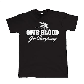 Vectorbomb, Give Blood Go Camping, Mens Funny T-Shirt  (S to 5XL)