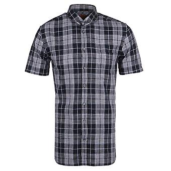 BOSS Orange Cattitude Navy Check Short Sleeve Shirt