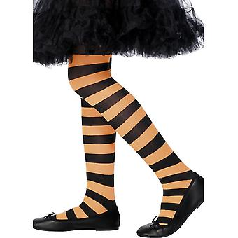 Tights, orange & svart, randig