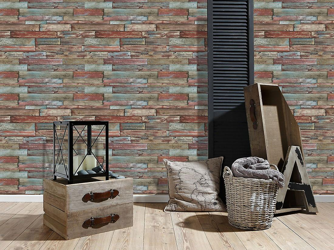 Wood Effect Wallpaper Wooden Planks Boards Panels Weathered Red Blue Brown