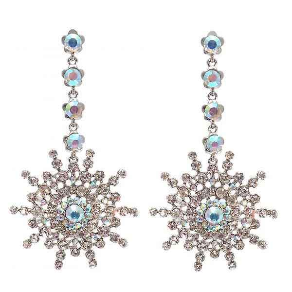 W.A.T Sparkling Crystal Flower Drop Shaped Earrings