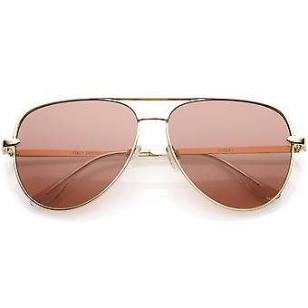 Premium Oversize Metal Aviator Sunglasses With Colored Flat Lens And Crossbar 60mm