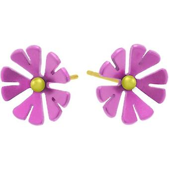 Ti2 Titanium 13mm Ten Petal Flower Stud Earrings - Candy Pink