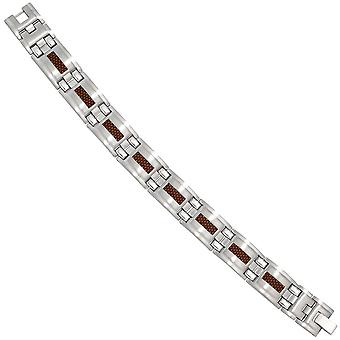 Bracelet stainless steel with Brown carbon deposits 21 cm flap closure