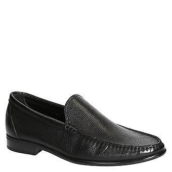 Schwarze full-Grain Leder Slipper für Männer handgefertigt