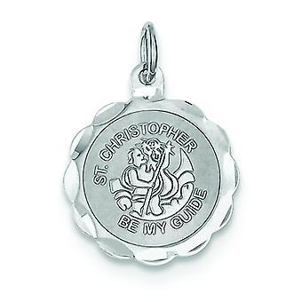 Sterling sølv Solid fasetterte polert Engravable Laser etset St. Christopher Medal sjarm