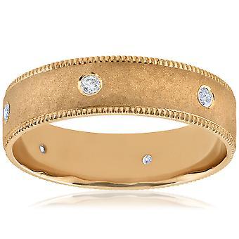 رجالي 14 ك الماس الأصفر 6 مم نحي مطروقة خاتم الزواج