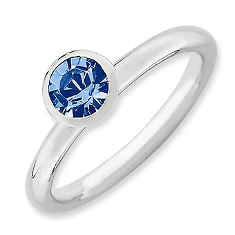 Sterling Silver Stackable Expressions High 5mm September Crystal Ring - Ring Size: 5 to 10