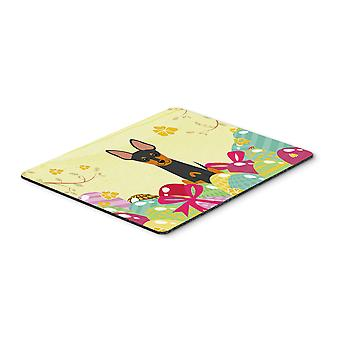 Easter Eggs English Toy Terrier Mouse Pad, Hot Pad or Trivet
