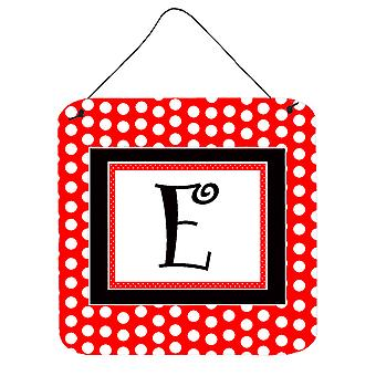 Letter E Initial  - Red Black Polka Dots Wall or Door Hanging Prints