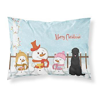 Merry Christmas Carolers Black Russian Terrier Fabric Standard Pillowcase