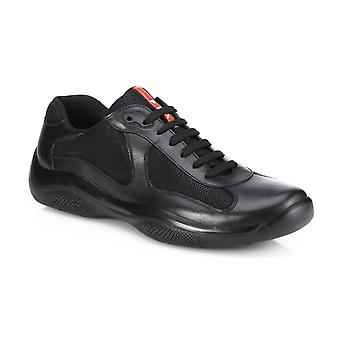 Prada Leather America's Cup Mesh Black Trainers