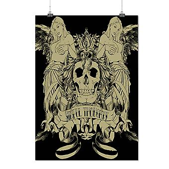 Matte or Glossy Poster with Sinful Thought Sexy Skull | Wellcoda | *d752