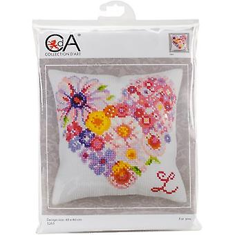Collection D'Art Stamped Needlepoint Cushion Kit 40X40cm-For You CD5263