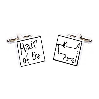 Hair of the Dog Cufflinks by Sonia Spencer, in Presentation Gift Box. Hand painted
