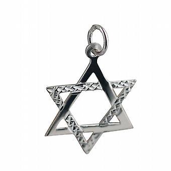 Silver 21x17mm diamond cut Star of David Pendant