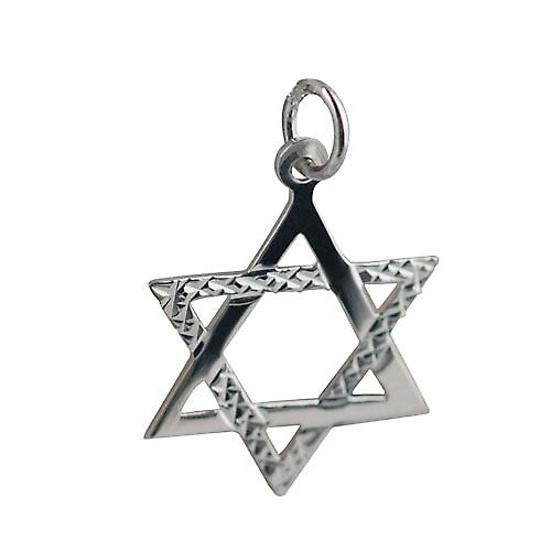 Silver 21x17mm Diamond Cut Star of David pendant