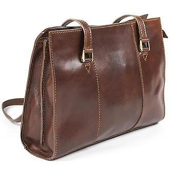 Luxury Italian Leather Ladies Shoulder Bag Business Handbag Brown Work Case