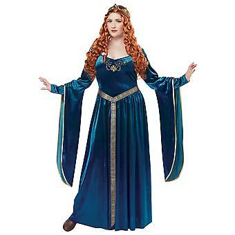 Lady Guinevere Renaissance medeltida blå spelet av troner Womens kostym Plus