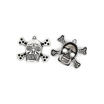 Packet 3 x Antique Silver Tibetan 32mm Skull & Crossbones Charm/Pendant ZX16455