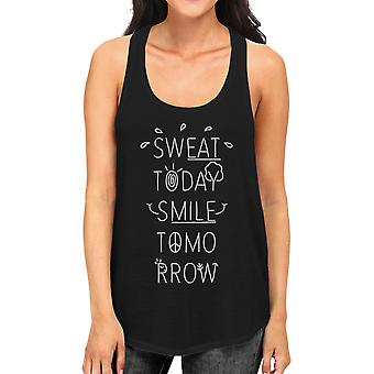 Sweat Smile Womens Black Cute Graphic Tank Top Funny Workout Gift