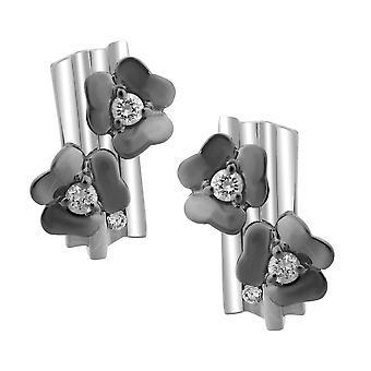 Orphelia Silver 925 Earring Flower Black  ZO-6039/2