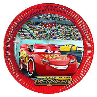 Plate party platter of plate cars 3 kids party birthday 23 cm diameter 8 pieces