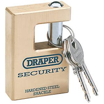 Draper 64202 Expert 76mm Quality Close Shackle Solid Brass Padlock & 2 Keys