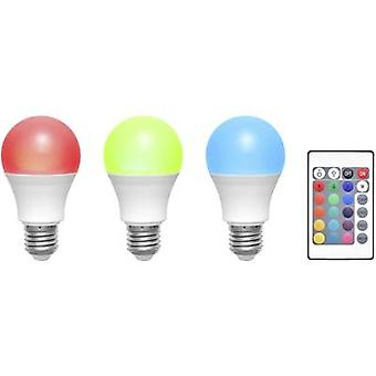 Basetech LED E27 Arbitrary 6 W RGBW (Ø x L) 60 mm x 108 mm EEC: A colour-changing, dimmable, incl. remote control 3 pc(