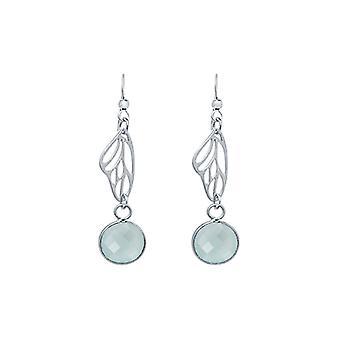 Gemshine - Damen - Ohrringe - 925 Silber - Schmetterling Flügel - Chalcedon - Meeresgrün - 4 cm