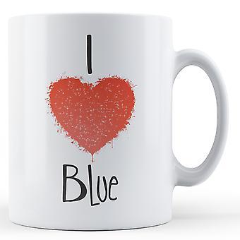 Ozdobny piśmie kocham niebieski kubek z nadrukiem