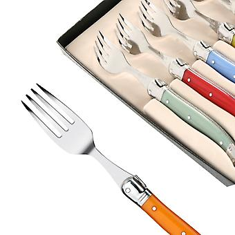 Set of 6 Laguiole forks in assorted colors Direct from France
