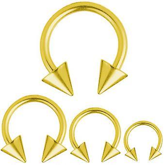 Circular Barbell Hufeisen Gold plattiert Titan Piercing 1,6 mm, Spitzen | 8 - 16
