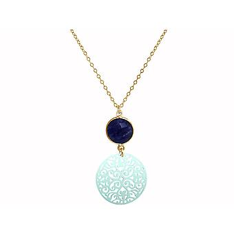 GEMSHINE mandala and blue Sapphire necklace. Pendant made of silver, gold plated or 45cm necklace. Made in Madrid, Spain. Delivered in a noble gift case.