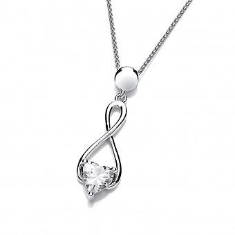 Cavendish Frans zilver en Cubic Zirkonia hart Celtic Twist hanger zonder ketting