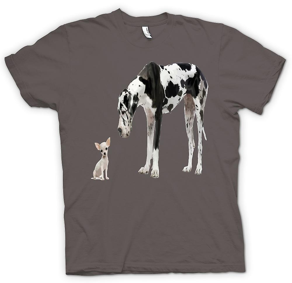 Womens T-shirt - Great Dane And Chihuahua Cut Pet Dogs