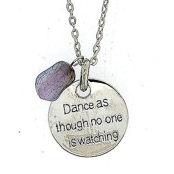 TOC 'Dance As Though No One Is Watching' Blue Charm Pendant Necklace 18