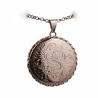 9ct Rose Gold 31mm hand engraved twisted wire edge round Locket with a belcher Chain 24 inches