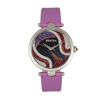 Bertha Trisha Leather-Band Watch w/Swarovski Crystals - Lilac