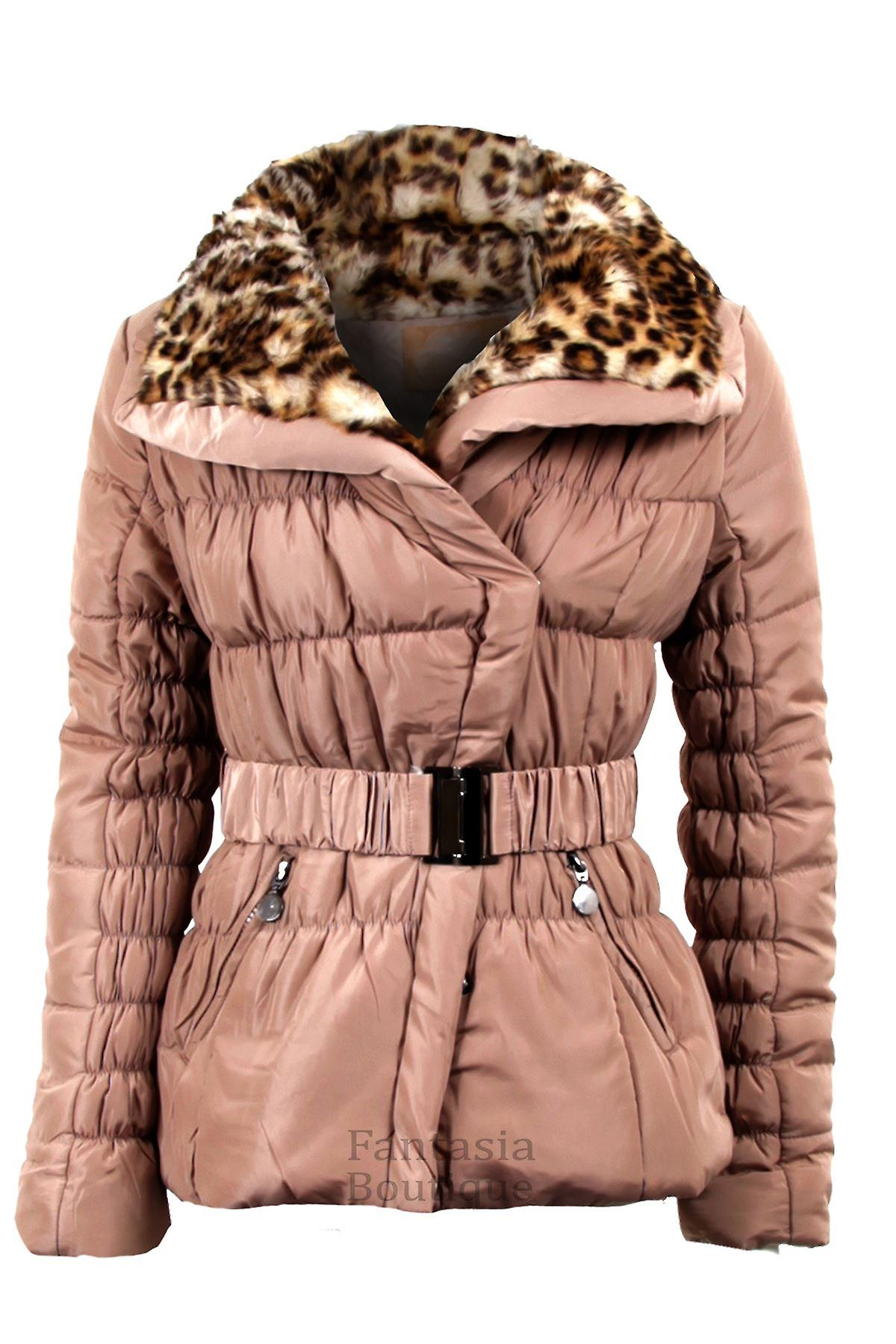 Ladies Belted Padded Quilted Wide Collar Leopard Fur Womens Winter Jacket