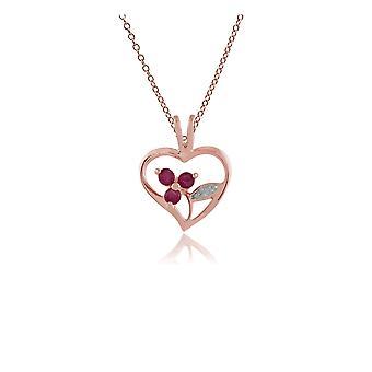 Gemondo Rose Gold Plated plata 0,18 ct rubí corazón colgante de cadena